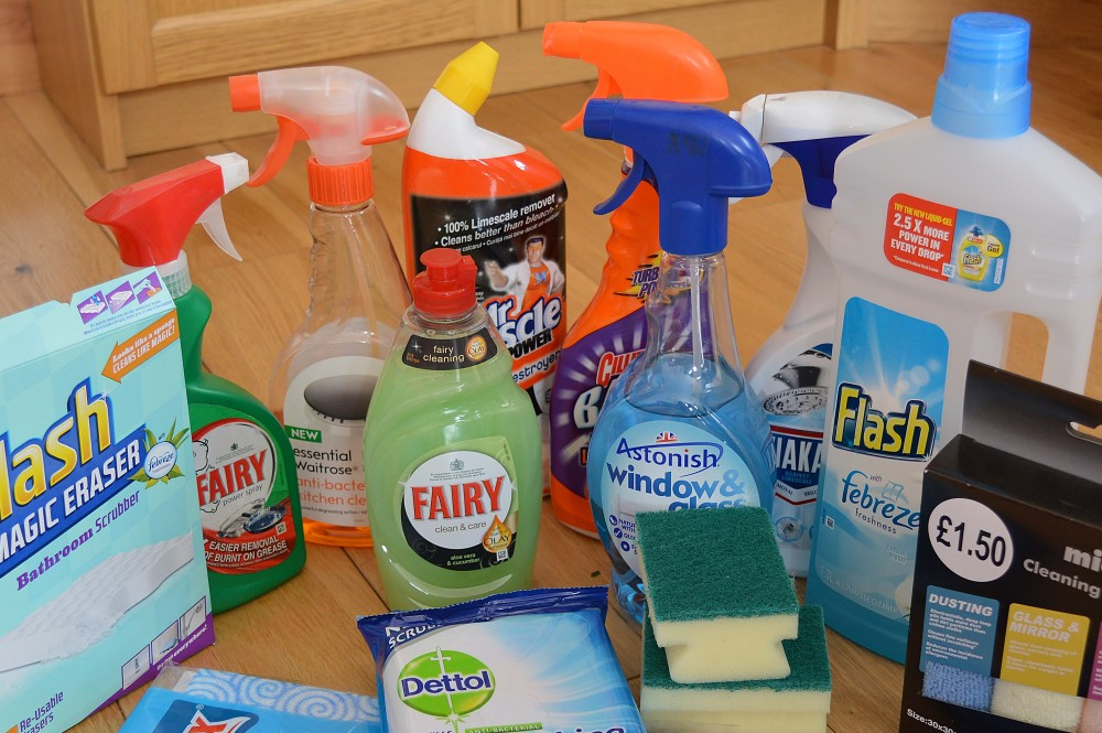 Esential cleaning products in my cupboard
